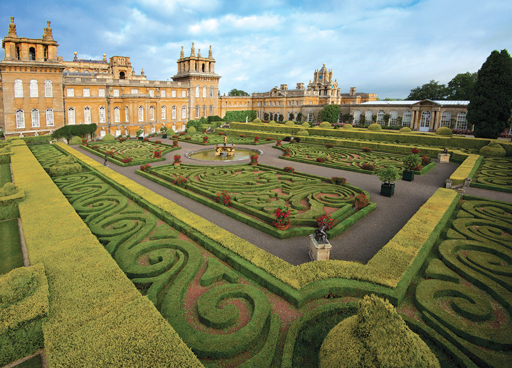 Blenheim Palace sits on more than 800 hectares of estate land, including the formal gardens pictured above.