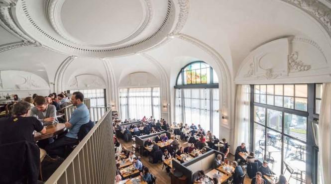 The domed interior of Brasserie de Montbenon