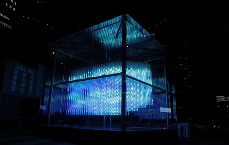 Brilliant Cube lights up Gangnam Station in Seoul. Photo courtesy of Hyundai