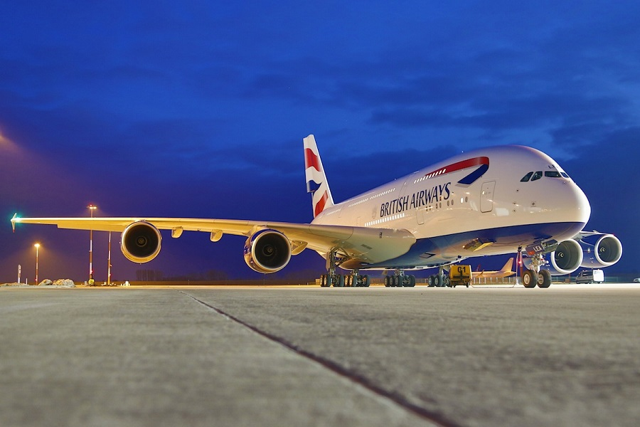 The exterior of the British Airways A380.