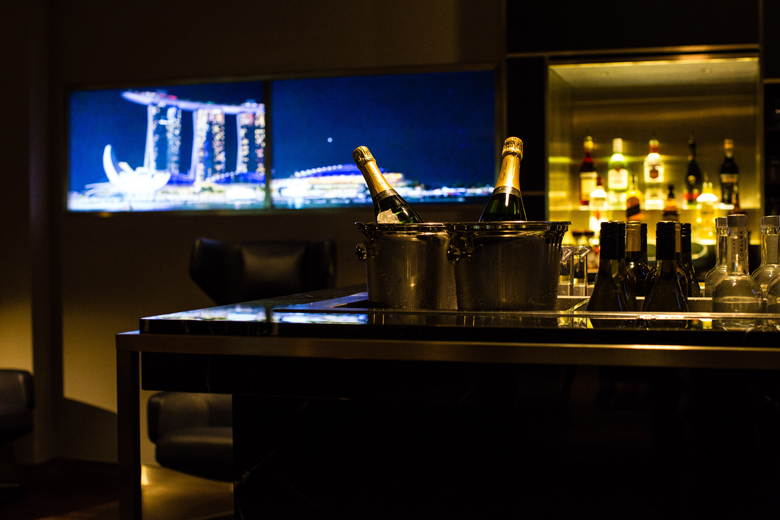 A digital view of the city at night at the Concorde Bar.