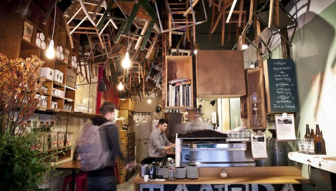 Chairs hang from the ceiling of Brother Baba Budan. Photo by Jennifer Jones