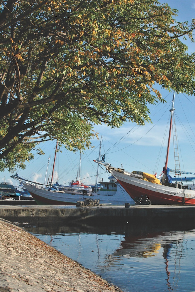 Bugis phinisi schooners at Paotere Harbor in Makassar.