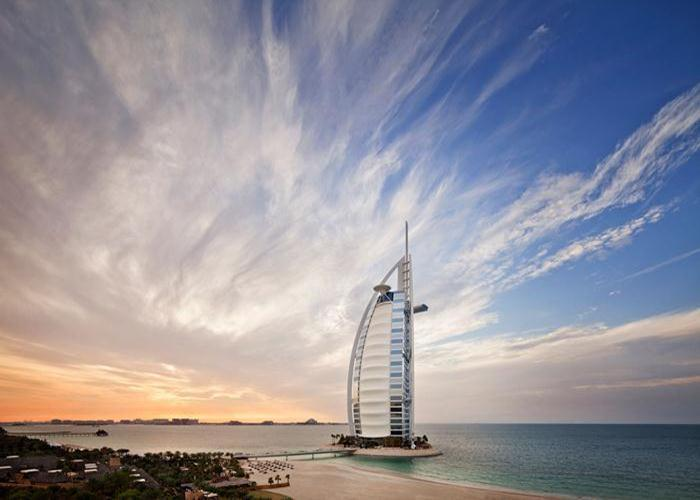 The Burj Al Arab is the fourth-tallest hotel in the world and contains 202 suites ranging from 169 square meters to 780 square meters.