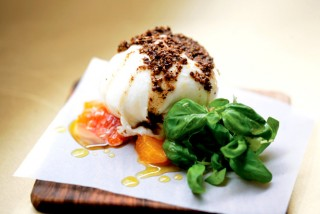 Burrata with coriander seed, blood-orange, and basil at Nopi.