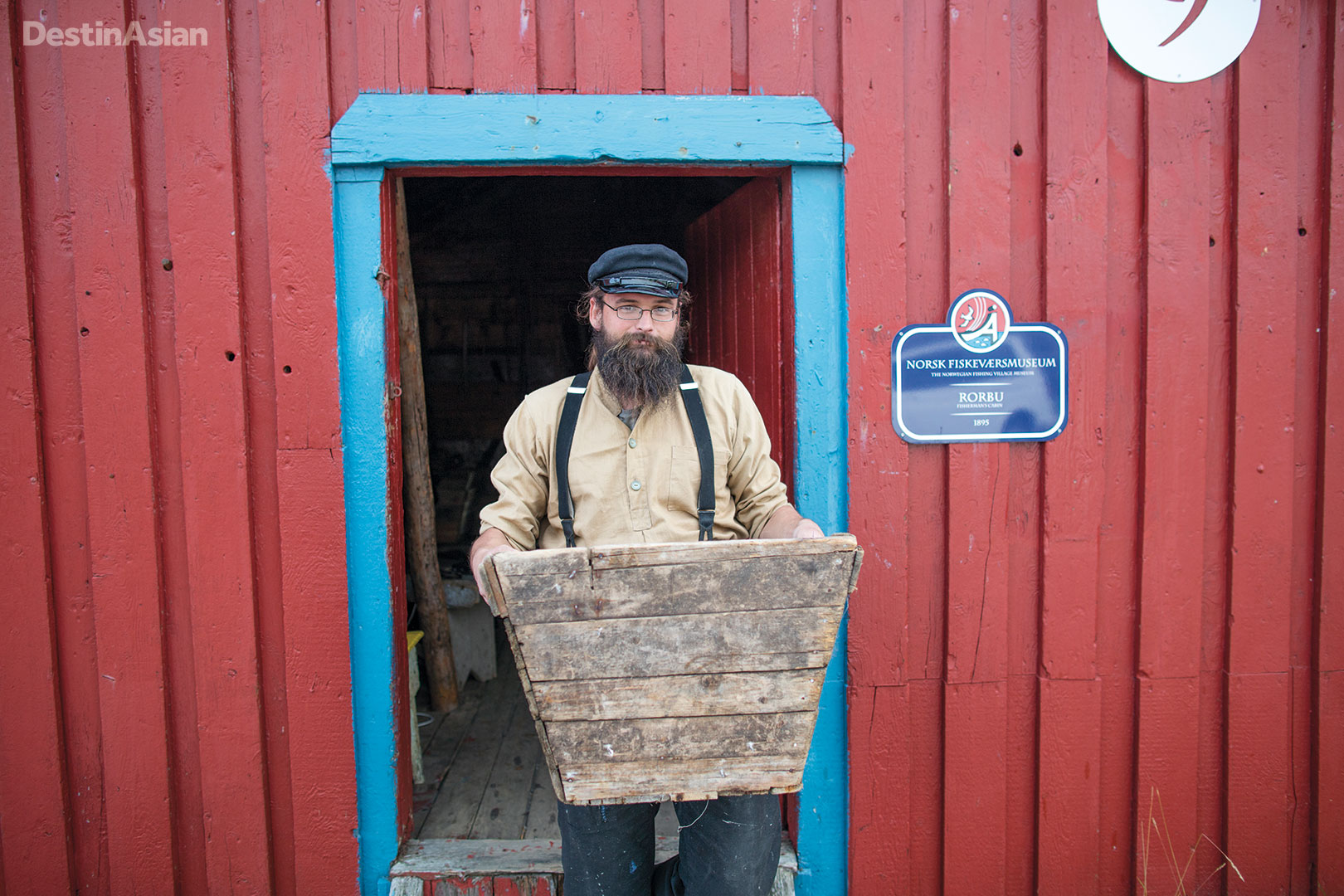 Outside an old fishing cabin at the Norwegian Fishing Village Museum in Å.