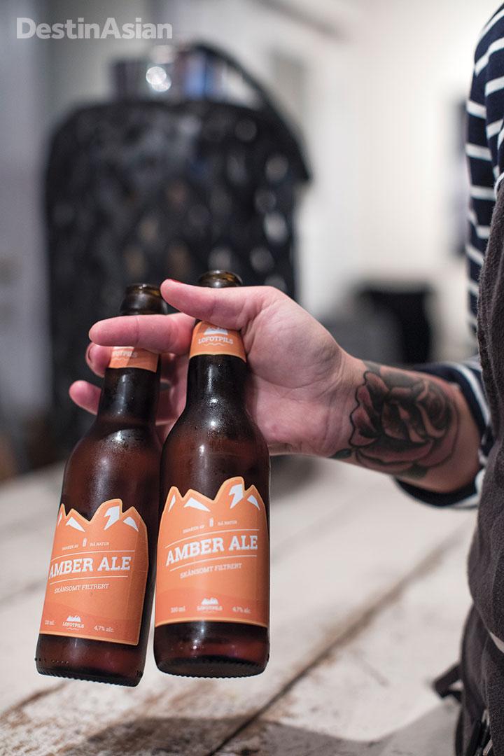Locally brewed beer at Himmel og Havn.