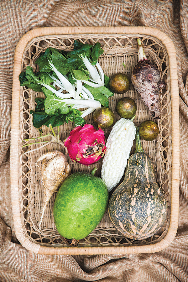 A basket of local produce at Island East Markets.