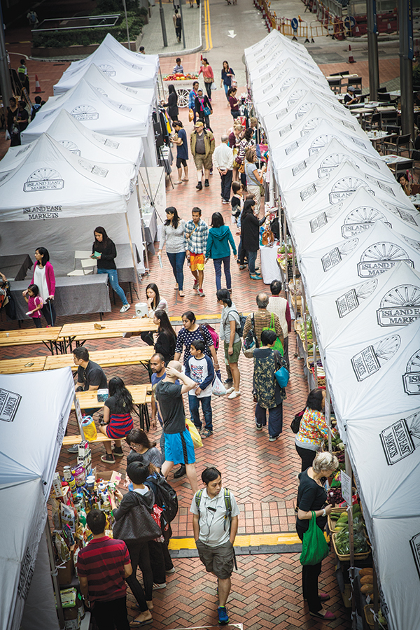Sunday crowds at Island East Markets, where Hong Kong's best produce is on display.