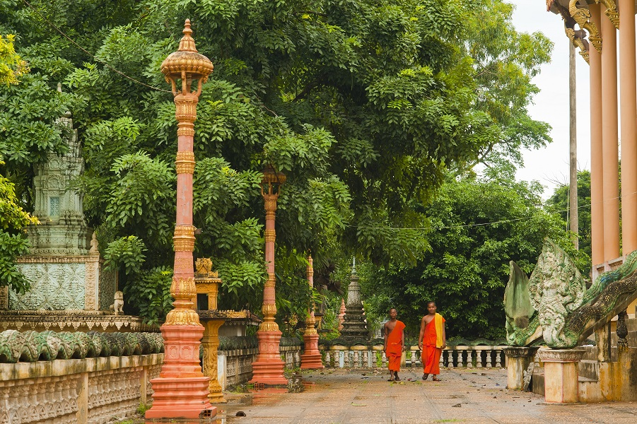 Monks at a temple in Cambodia.