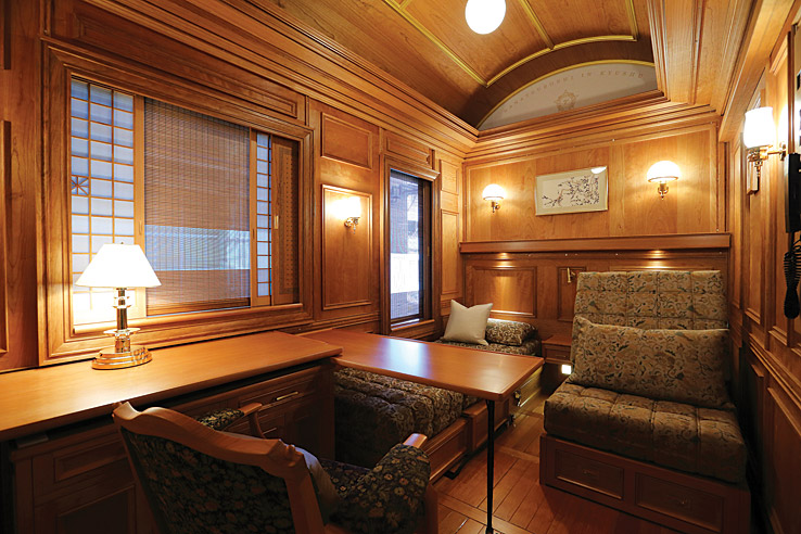The seven-car train has a luxurious vintage feel.