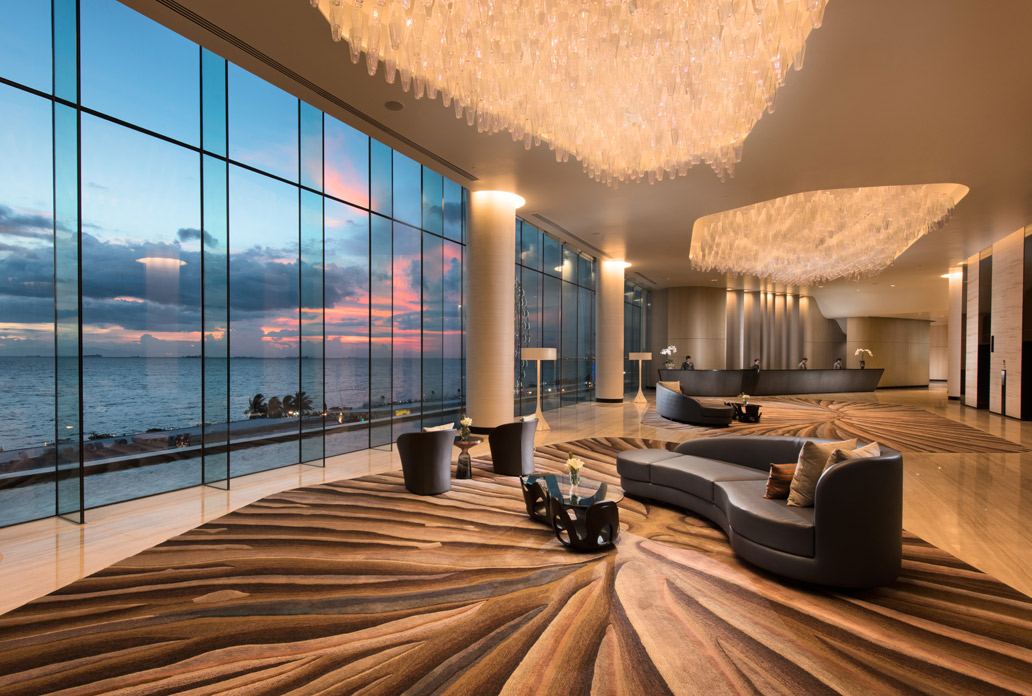The third-floor reception lobby provides an astonishing view of Manila Bay.