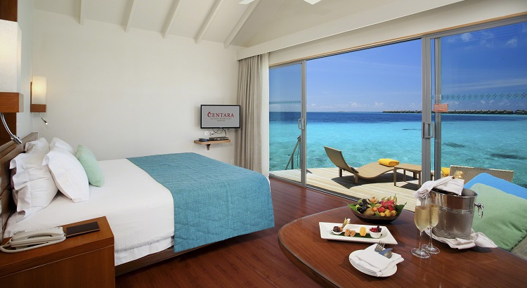 Enjoy views of the ocean from Centara Ras Fushi's Deluxe Water Villa.