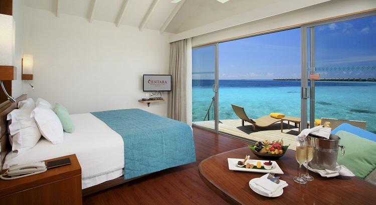 Enjoy views of the ocean from Centara Ras Fushi's Deluxe Water Villa.