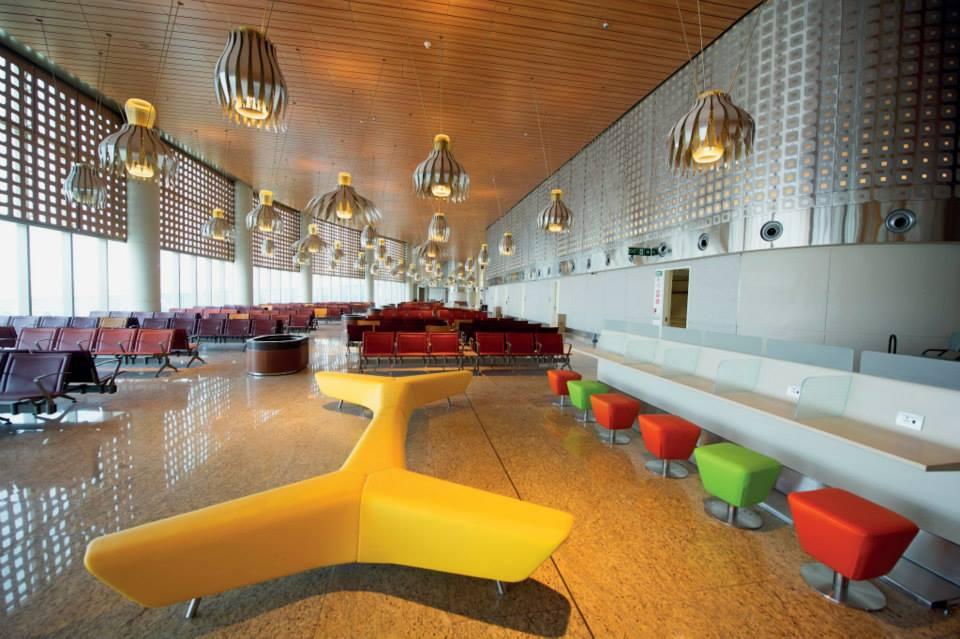Modern furniture decks a waiting area of Chhatrapati Shivaji International Airport Terminal 2.