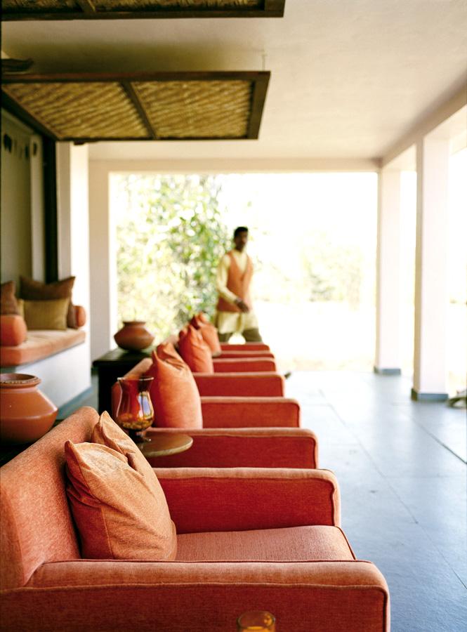 The terrace at Mahua Kothi's main lodge.