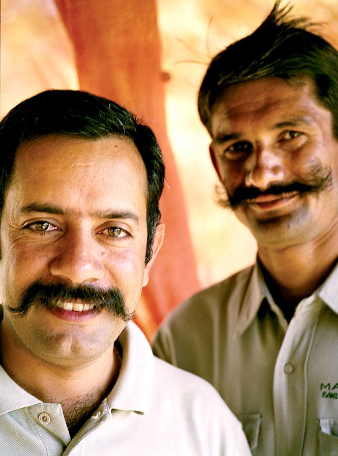 Kartikeya Singh Chauhan with an assistant at Mahua Kothi.