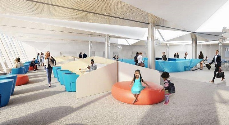 The new terminal will feature a variety of seating options, from business spaces to private spaces.