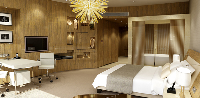 A guest room at the Capital Gate Hotel.