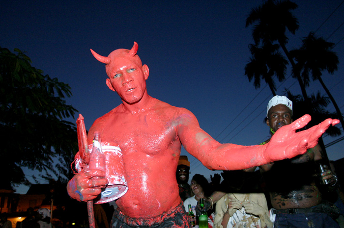 A reveler covered in paint for j'ouvert in Trinidad and Tobago.