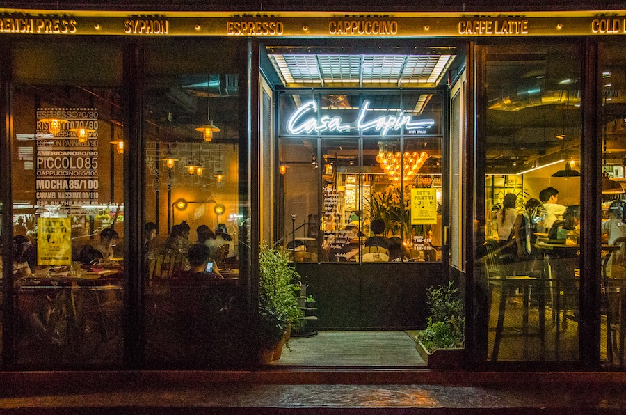 The storefront of Casa Lapin, an artisan coffee shop.