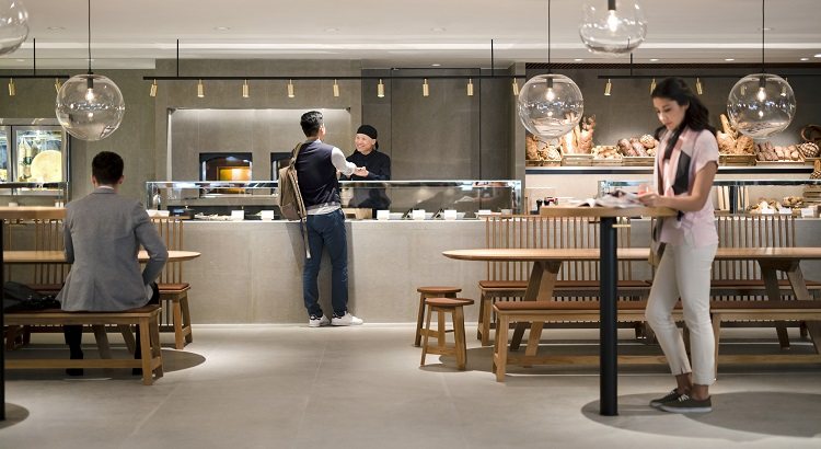 The lounge features an array of dining options, including Cathay's iconic noodle bar.
