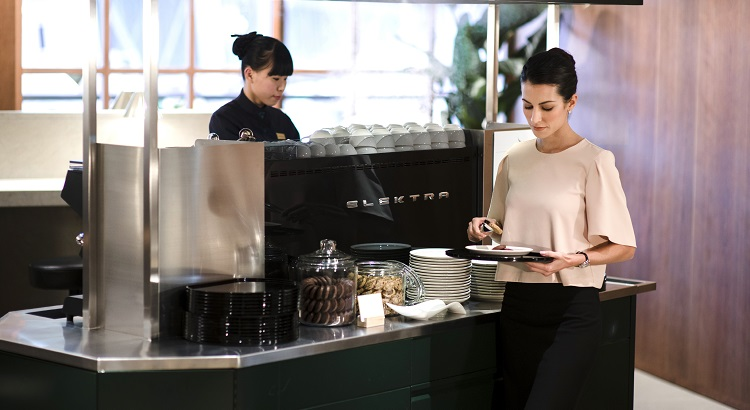 The coffee stall at Cathay's new business lounge.