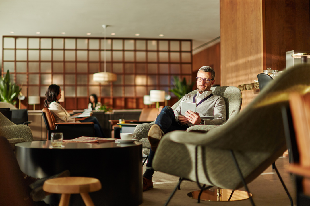 Relaxing at Cathay Pacific's newly renovated Heathrow lounge in London.