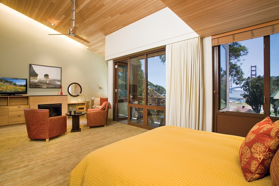 Former military quarters have been converted into posh rooms with views of the Golden Gate Bridge at Cavallo Point hotel.