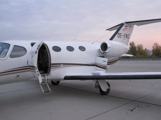 The service is operated by a Cessna Citation Mustang aircraft (photo courtesy of Flightlog).