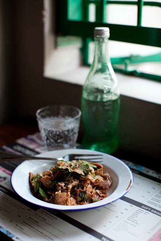 Nahm dtok moo (spicy pork salad) at Chachawan.