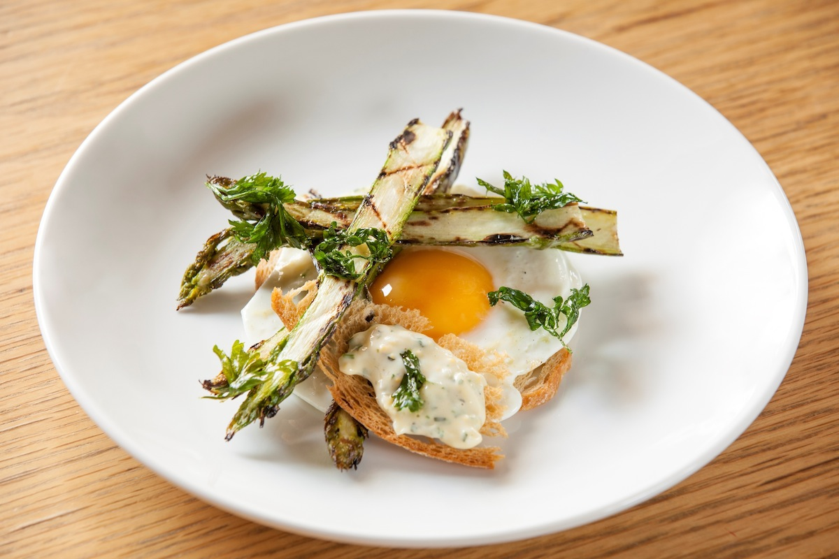 The Study's chargrilled asparagus with chopped egg.