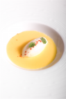 Chilled corn soup with Potato ice cream