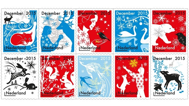 Reindeer, peacocks and foxes adorn these Christmas stamps designed by Studio Tord Boontje for Dutch national delivery company PostNL.