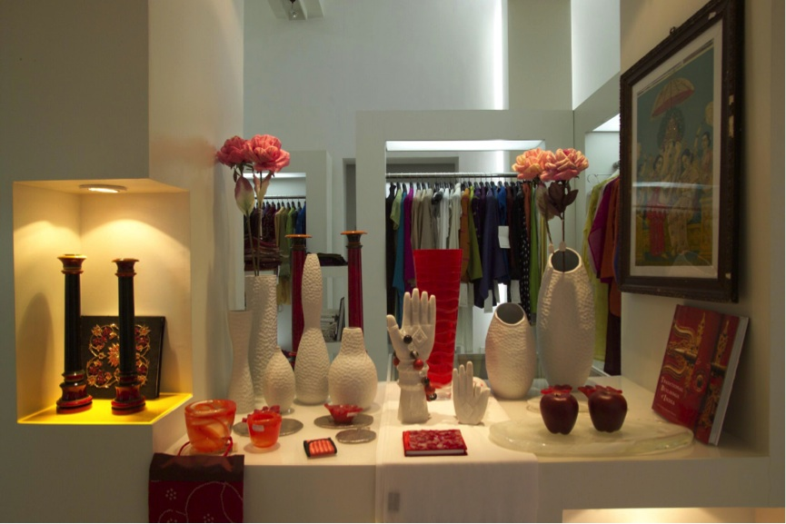 Owners Radhika and Abishek Poddar source modern Indian products for their boutique.