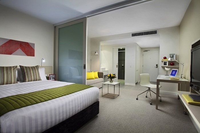 At the Citadines on Bourke Melbourne, whose Studio Deluxe is pictured here, guests can take advantage of a guide of the city's hot spots compiled by the Citadines' staff.