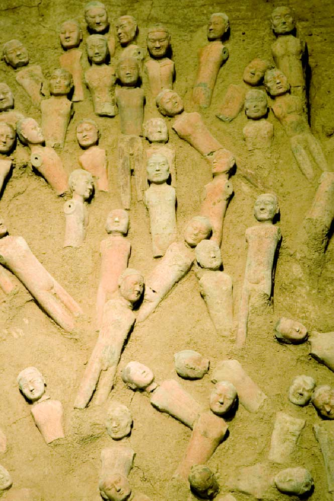 Clay figurines in the tomb of Emperor Jingdi, now the Han Yangling Museum.