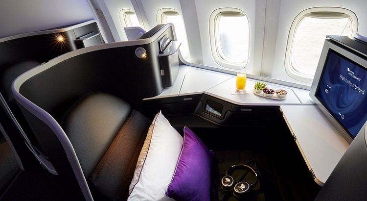 Triple-layer cushioned seats convert into an 80-inch flat bed, the length of a queen size bed.