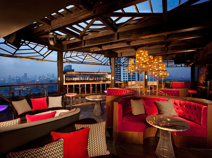 Cocktails and tapas are served alongside skyline views at Cloud.