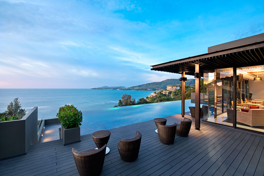 The Hyatt Regency Phuket Resort is built into a forested hillside giving guests a specular view of the ocean.