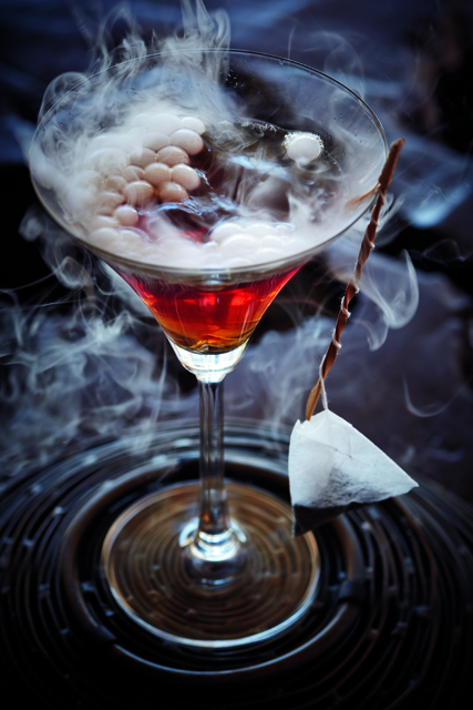 A cocktail made with the dry-ice effect.