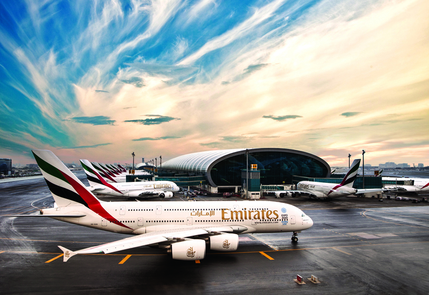 An Emirates aircraft at the Concourse A in Dubai Airport.