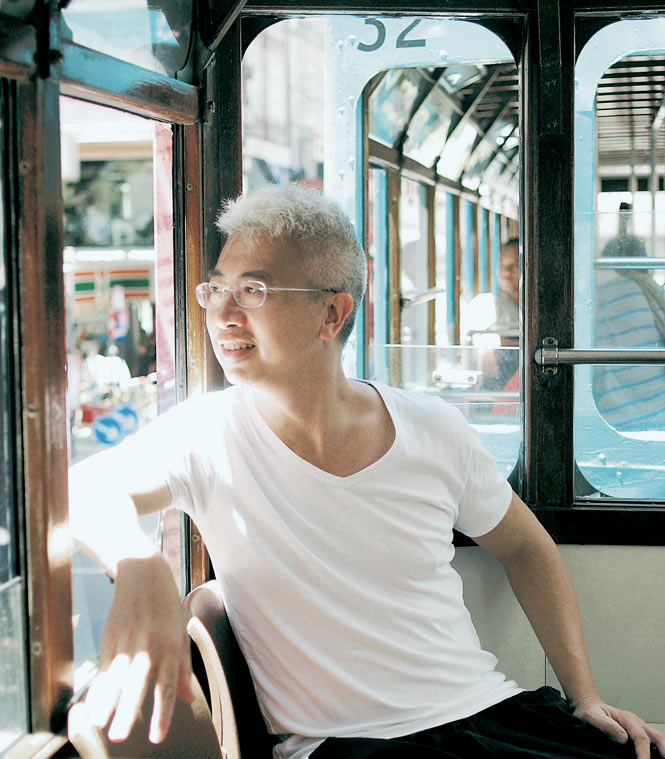 Craig Au Yeung between meals on the tramway.