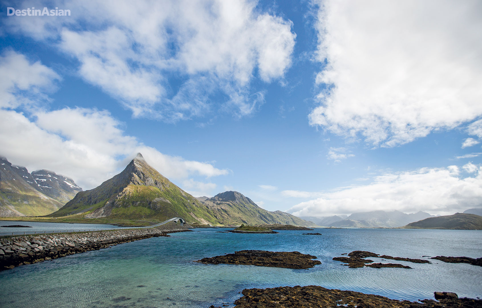A scenic bridge connects the neighboring Lofoten islands of Flakstadøya and Moskenesøya.