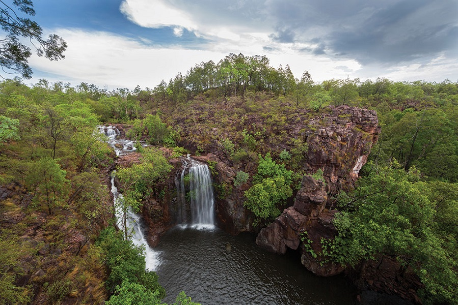 The twin cascades of Florence Falls in Litchfield National Park.