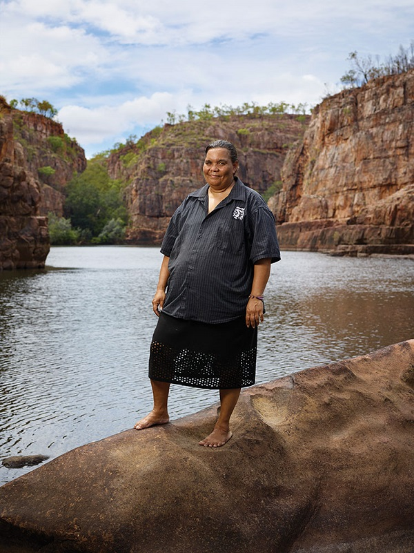 Jawoyn leader Jane Runyu on the banks of the Katherine River. Runyu is the chairwoman of Nitmiluk Tours, which owns and operates Cicada Lodge.