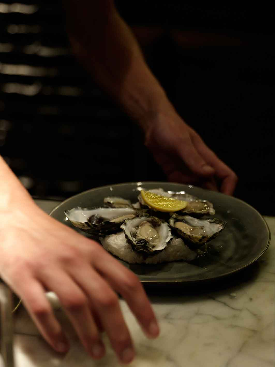 Freshly shucked oysters at The Bourbon.
