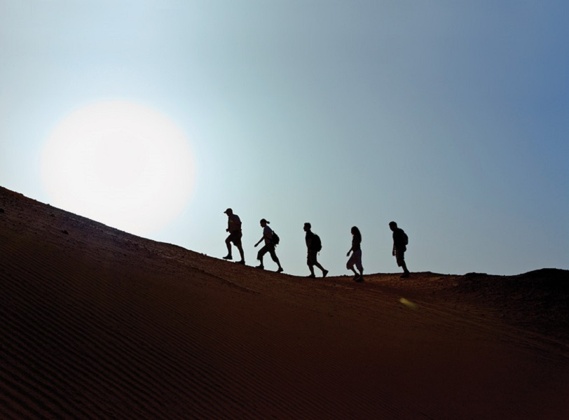 Hiking Sir Bani Yas Island's salt dome hills.
