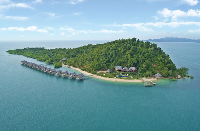 An aerial view of Telunas Private Island resort.