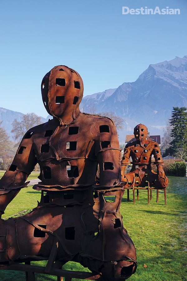 Outdoor art installations at the Grand Resort Bad Ragaz. Photo by Christopher P. Hill.